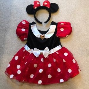 Minnie Mouse Disney dress with matching Ears 18m